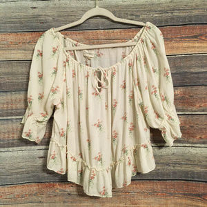 Denim & supply floral off shoulder top
